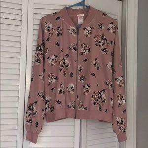 Xhilaration Pink Flowered Bomber Jacket